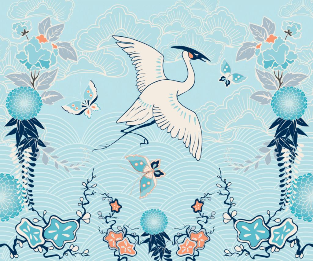 Интерьерная дверная панель Crowned Crane